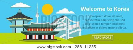 Welcome To Korea Banner Horizontal Concept. Flat Illustration Of Welcome To Korea Banner Horizontal