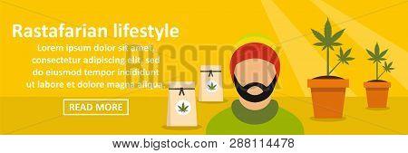 Rastafarian Lifestyle Banner Horizontal Concept. Flat Illustration Of Rastafarian Lifestyle Banner H