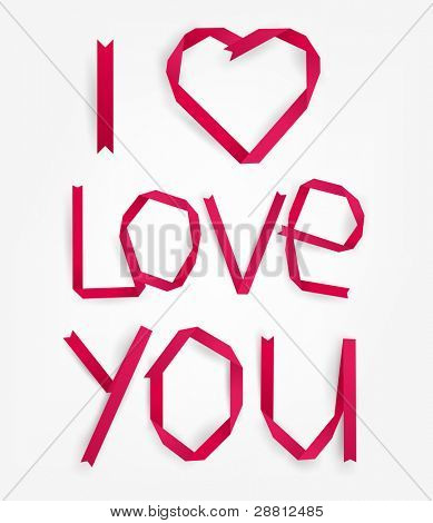 Red paper heart with I Love You title for Valentines day or wedding design, vector eps10