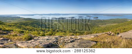 Panorama of Bar Harbor, Maine, New England, as seen from Cadillac Mountain in Acadia National Park.