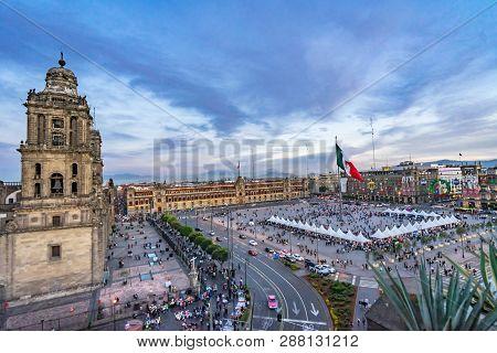 Mexico City, Mexico - January 2, 2019 Metropolitan Church Street People Presidential Palace Zocalo,