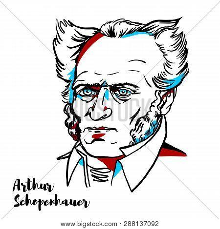 Arthur Schopenhauer Engraved Vector Portrait With Ink Contours. German Philosopher.