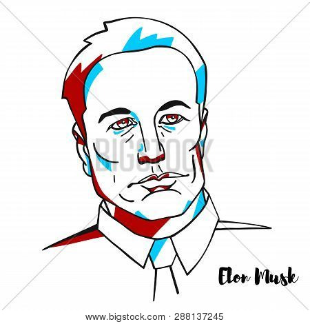 China, Chenghai - February, 23, 2019: Elon Musk Engraved Vector Portrait With Ink Contours. Technolo