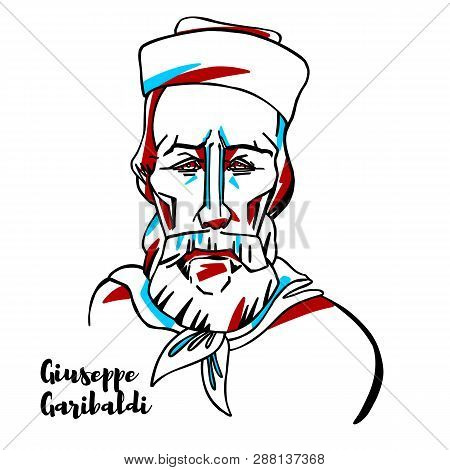 Giuseppe Garibaldi Engraved Vector Portrait With Ink Contours. Italian General And Nationalist. A Re