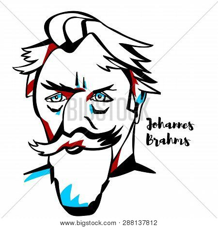 Johannes Brahms Engraved Vector Portrait With Ink Contours. German Composer And Pianist Of The Roman