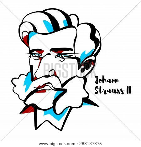 Johann Strauss Ii Engraved Vector Portrait With Ink Contours. He Was An Austrian Composer Of Light M
