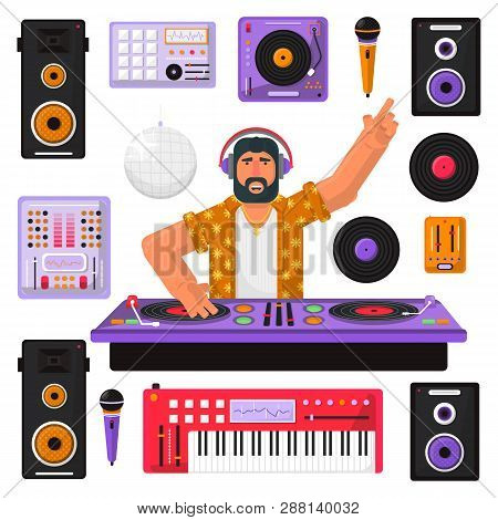 Young Hipster Dj With Beard And Equipment Mixing Music On The Turntables. Dj Playing And Mixing Musi