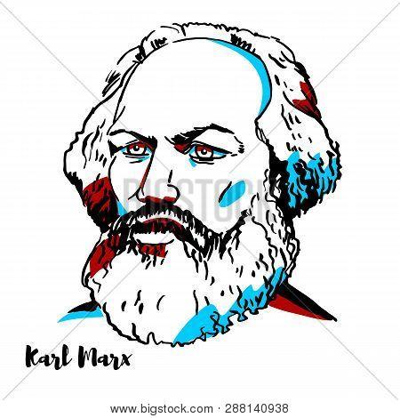 Karl Marx Engraved Vector Portrait With Ink Contours. German Philosopher, Economist, Historian, Soci