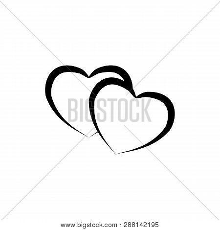 Heart Two Black Ribbon On White Background. Symbol Linked, Join, Love, Passion And Wedding. Template