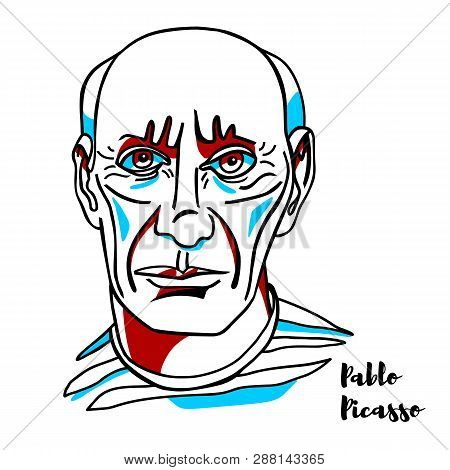 China, Chenghai - February, 18, 2019: Pablo Picasso Engraved Vector Portrait With Ink Contours. Span