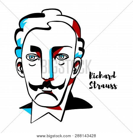 Richard Strauss Engraved Vector Portrait With Ink Contours. German Composer Of The Late Romantic And