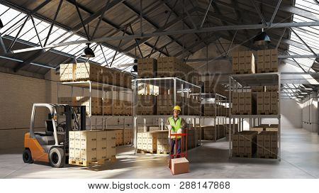 Warehouses worker with forklift transports goods in a full warehouse (3D Rendering)