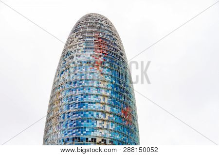 Barcelona, Spain - September 05, 2018: The Torre Glories, Formerly Known As Torre Agbar In A Beautif