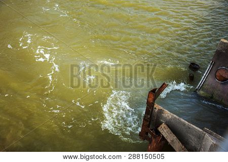 Discharge of dirty industrial wastewater into sea. Poisoning of recreation area by spread of disease, destruction of flora and fauna as result of violation of ecology of sea coast. Storm water, sewage poster