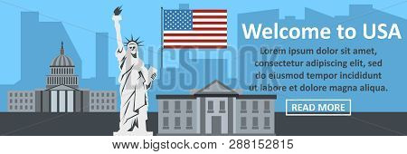 Welcome To Usa Banner Horizontal Concept. Flat Illustration Of Welcome To Usa Banner Horizontal Conc