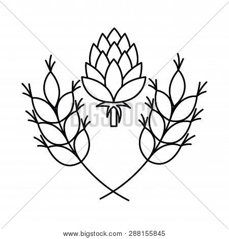Wheat Leaves And Pinecone Isolated Icon Vector Illustration Desing