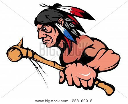 American Indian Chief Mascot Graphic, Indian Warrior With A Traditional Weapon, Indian Chief Suitabl