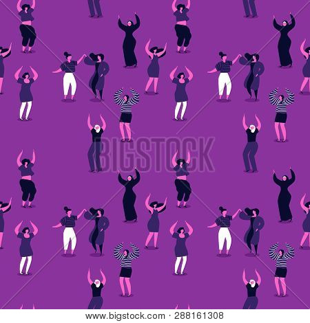 International Womens Day Seamless Pattern Of Diverse Women. Happy Girls Dancing For Party Celebratio