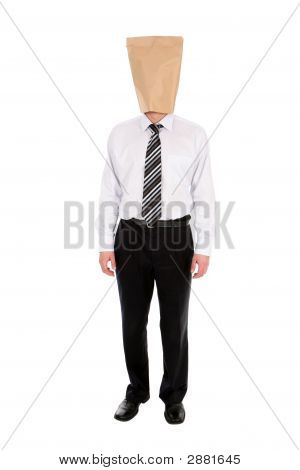 Businessman With Paper Bag Over Head