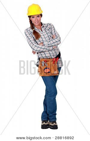 Handywoman isolated on white background