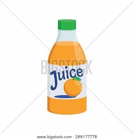 Illustration Of An Orange Juice Bottle On A White Background