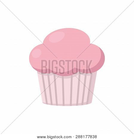 Illustration Of A Pink Muffin On A White Background