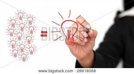 poster of business Hand Writing Big Idea Team for Creativity Team for Brainstorming Concept (Selective focus at Pen)