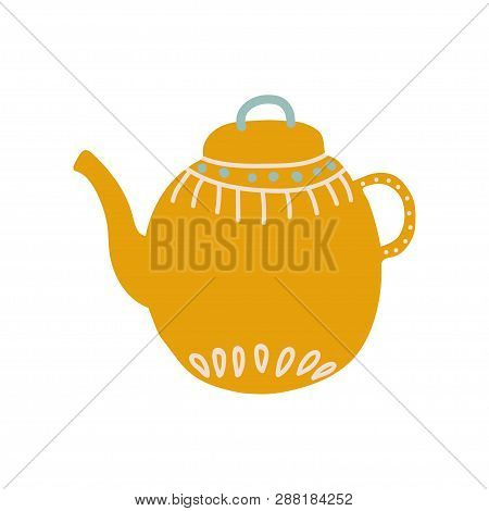 Cute Orange Teapot with Spout Ceramic Crockery Vector Illustration poster