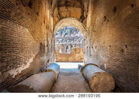 Rome, Italy - June 18, 2016: View Of The Colosseum Inside, Rome, Italy