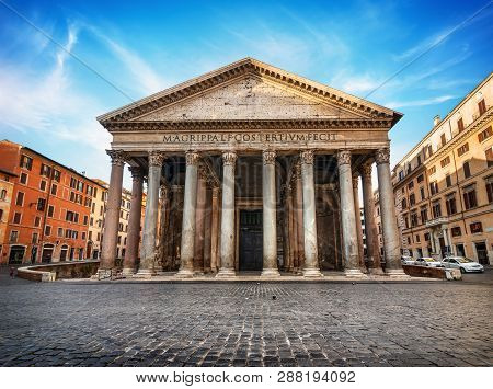 Ancient Pantheon In Rome At Cloudy Sunrise, Italy