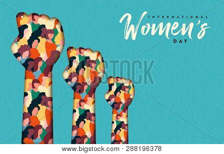 Happy Womens Day Illustration. Paper Cut Woman Hands With Women Group Inside, Female Crowd For Equal