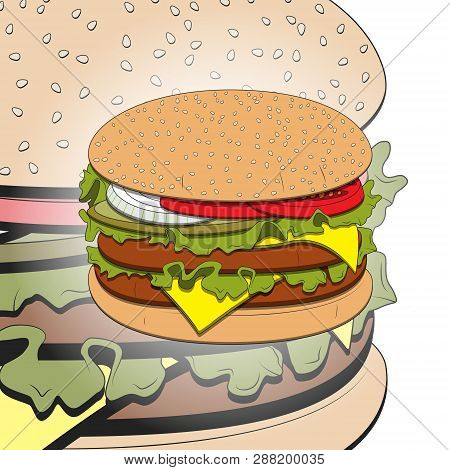 Hamburger With Cheese, Lettuce, Onion And Meat Rissole. Vector Illustration, Eps