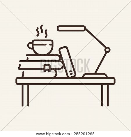 Worksite Line Icon. Student Workplace, Stack Of Books, Coffee. Education Concept. Can Be Used For To
