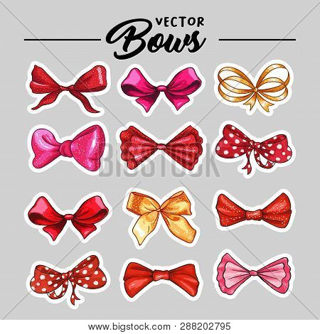 Bow Hand Drawn Vector Stickers Illustrations Set. Realistic Red Patch, Golden, Pink And Purple Ribbo