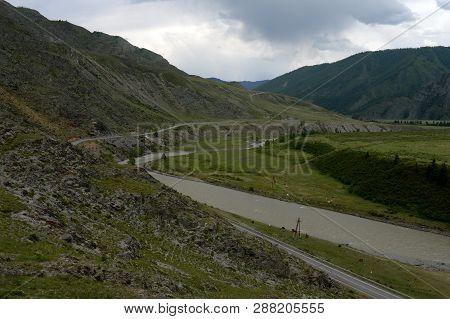 The Chuya River In The Area Of The Tract Kalbak-tash, Gorny Altai, Siberia, Russia