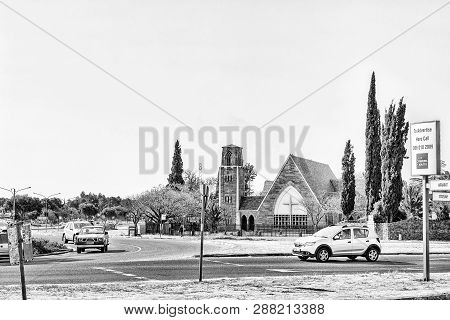 Welkom, South Africa, August 2, 2018: A Street Scene, With The St Matthias Anglian Church, In Welkom
