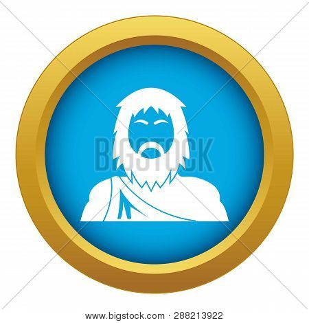 Neanderthal Icon Blue Vector Isolated On White Background For Any Design