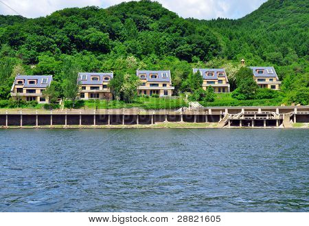 Coast of Songhua lake with new nice villas in Songhua National Park and military zone. Jilin province in north east China.