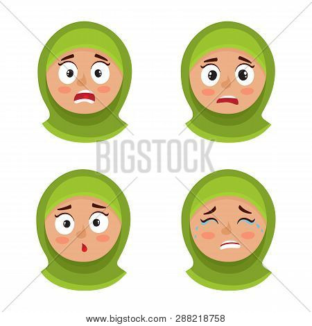 Set Of Arab Girl With Hijab Scared Face Expression Isolated On White