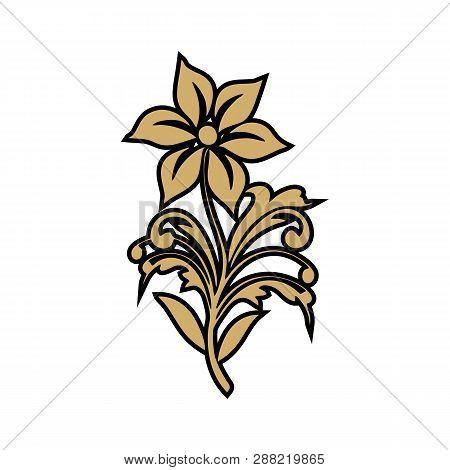 Graphical Golden Flower Vector  Illustration. Golden Flower, Contour Flower, Bloom Flower, Decorativ