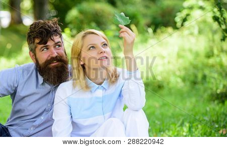 Nature Beauty Concept. Woman Enjoy Relax Nature Background. Pure Nature. Couple With Green Leaf Rela