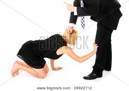 A picture of a man dismissing female employee's over white background
