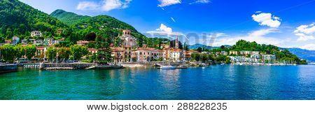 Picturesque lake Lago Maggiore. beautiful Laveno Mombello town. Northen Italy,Lombardia