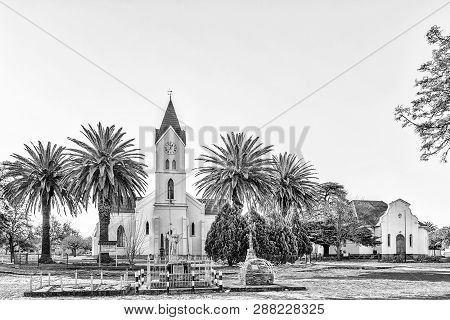 Brandfort, South Africa, August 2, 2018: The Dutch Reformed Mother Church And Hall In Brandfort In T