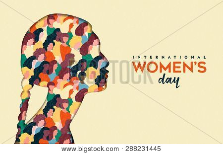 Happy Womens Day Illustration. Native Indian Paper Cut Girl Silhouette With Women Group Inside, Fema