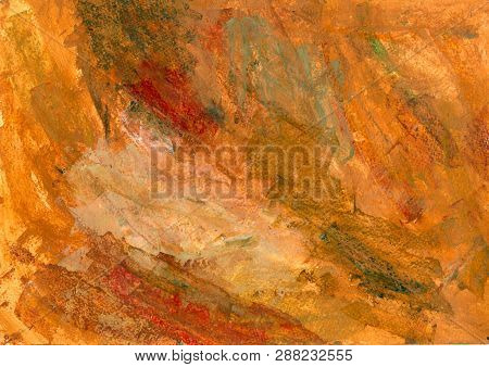 Rusty Iron Colors. Vivid Unique Pattern. Orange, Yellow, Red And Brown Multilayer Background. Handpa