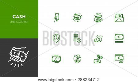 Cash Line Icon Set. Deal, Paying, Currency Exchange. Money Concept. Can Be Used For Topics Like Fina