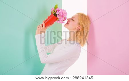 Feeling So Special. Woman Smiling Likes To Feel Special Attend To Her. Girl Holding Bouquet Flowers