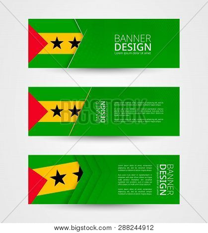 Set Of Three Horizontal Banners With Flag Of Sao Tome And Principe. Web Banner Design Template In Co