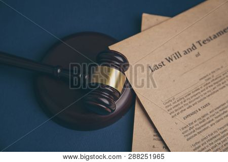 Notarys Public Pen And Stamp On Testament And Last Will. Notary Public